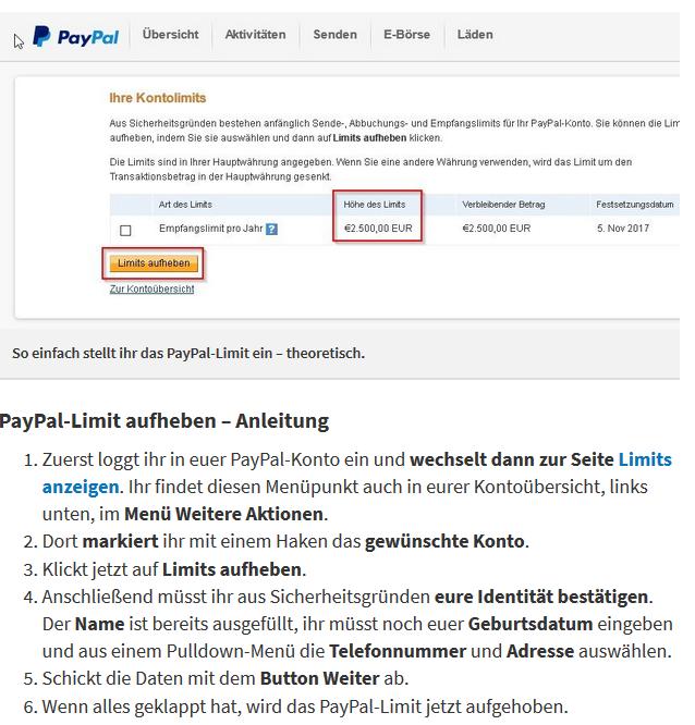 Paypal 2500 Limit Aufheben